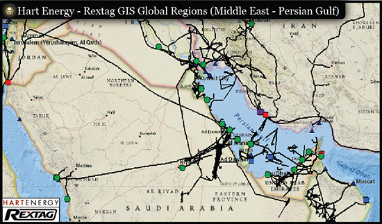 Rextag GIS Global Regions (Middle East - Persian Gulf