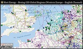 Rextag GIS Global Regions (Western Europe - English Channel)