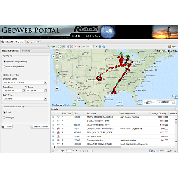 Natural Gas reports on Rextag GeoWeb Portal