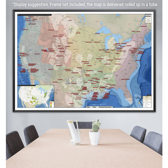 U.S. Crude Oil Infrastructure Printed Map Updated October 2017 office display