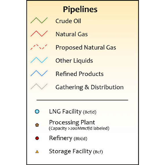 Louisiana Oil & Gas Infrastructure Printed Map Updated October 2017 legend