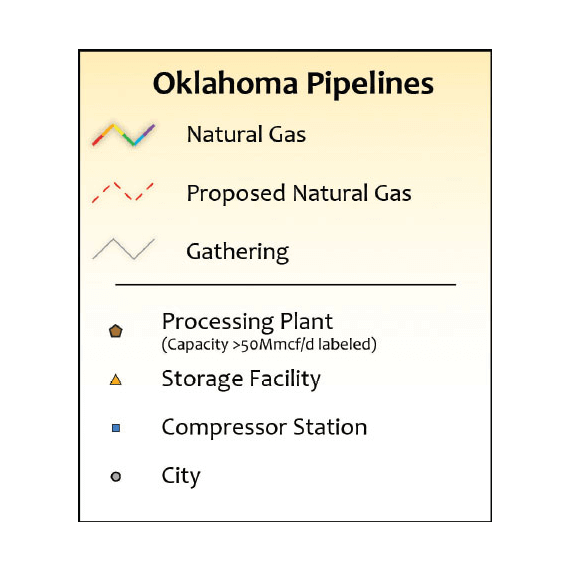 Oklahoma Natural Gas Infrastructure Printed Map Updated October 2017 legend