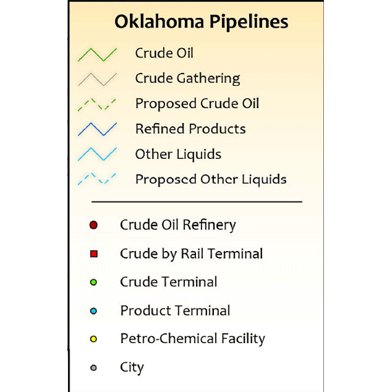 Oklahoma Liquids Infrastructure Printed Map Updated October 2017 legend