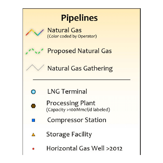 Texas Natural Gas Infrastructure Printed Wall Map legend