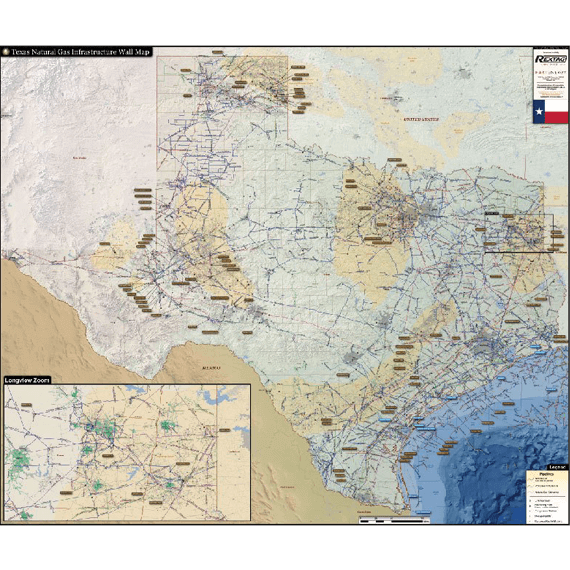 Texas Natural Gas Infrastructure Printed Wall Map Updated October 2017 preview