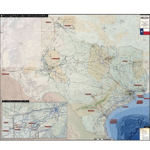Texas Liquids Infrastructure Printed Wall Map Updated October 2017 preview