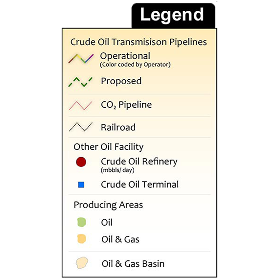 U.S. Crude Oil Infrastructure Printed Map Updated January 2019 Legend